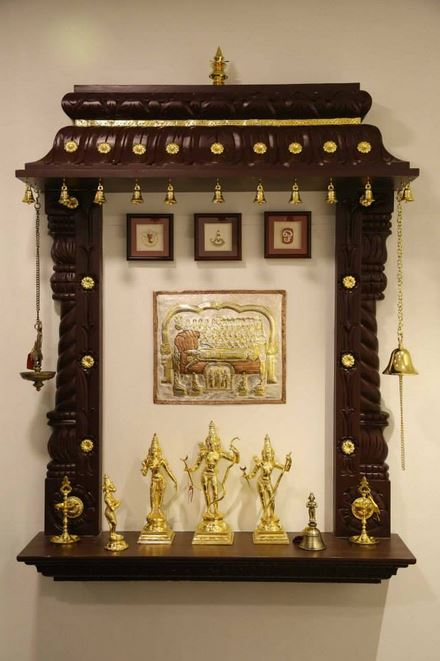 Charming Wall Mount Pooja Room Designs In Wood