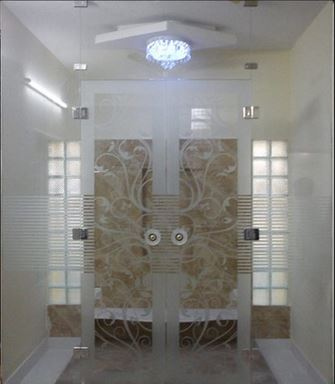 Glass Pooja Room Designs in Hall