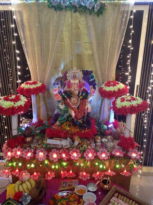 Superior Flower Themed Decoration Ideas For Ganpati At Home