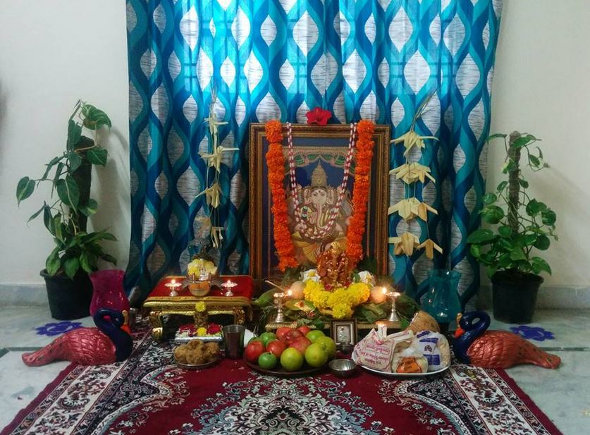 Ganesh Chaturthi Decoration Ideas Ganesh Pooja Decor Ganpati Pooja Decoration At Home